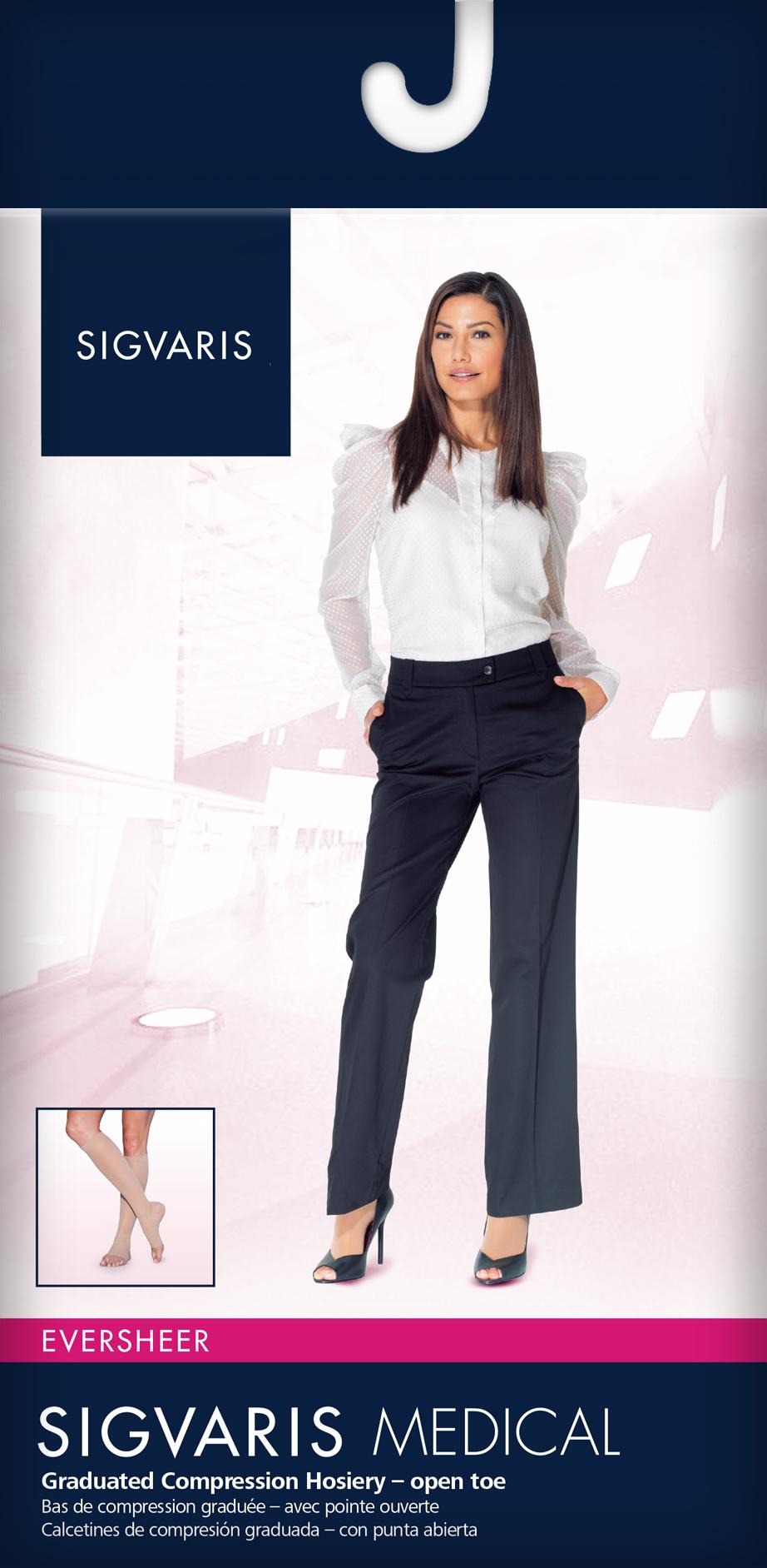 b2760ac101 Sigvaris EverSheer Knee High 20-30mmHg Women's Open Toe Long Length, Small  Long, Natural