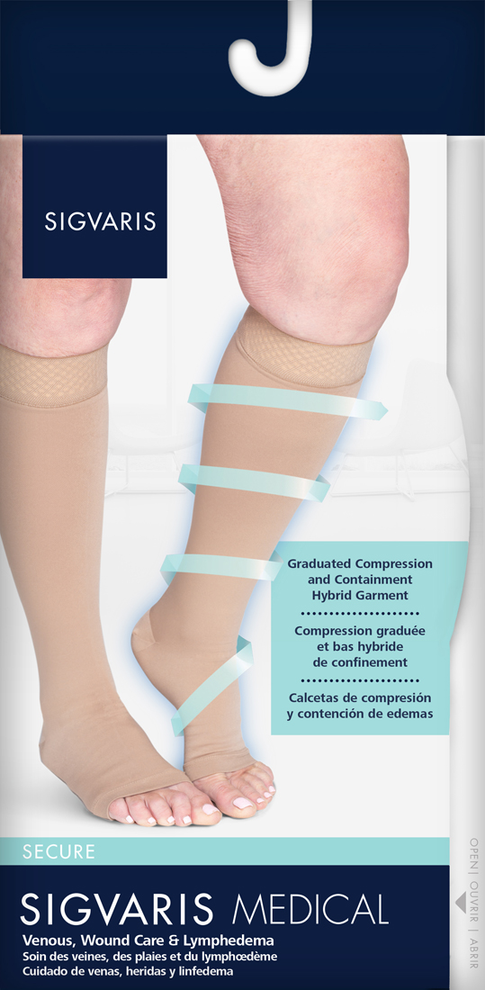 e8f229c21e Sigvaris Secure Knee High 20-30mmHg Open Toe, M1, Beige