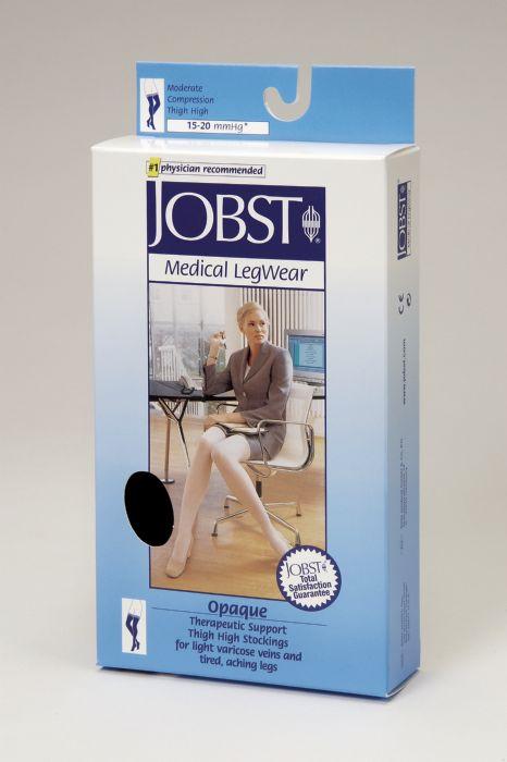 bc72da9f87 Jobst Opaque Thigh High With Silicone Dot Band 15-20mmHg Closed Toe, S,  Black