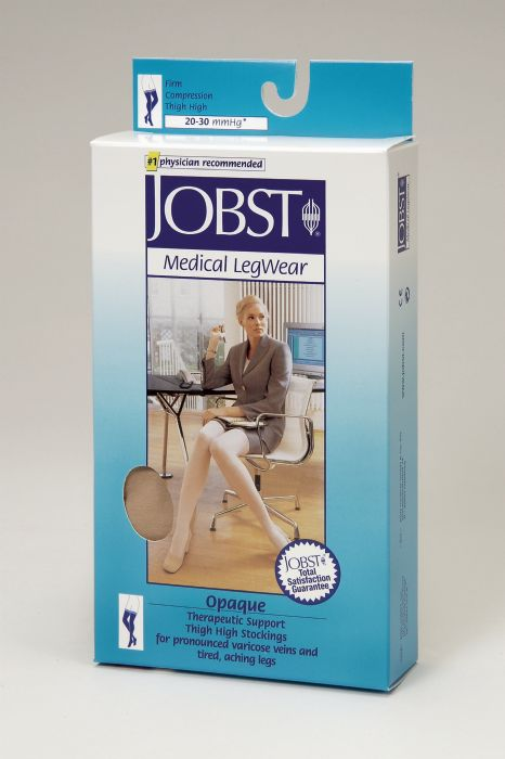 e64c99bb90 Jobst Opaque Thigh High With Silicone Dot Band Petite 20-30mmHg Closed Toe,  S, Natural